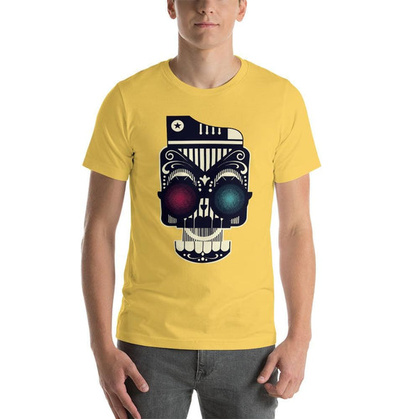 Retro Robot Design on Short-Sleeve T-Shirt - Yellow / S -