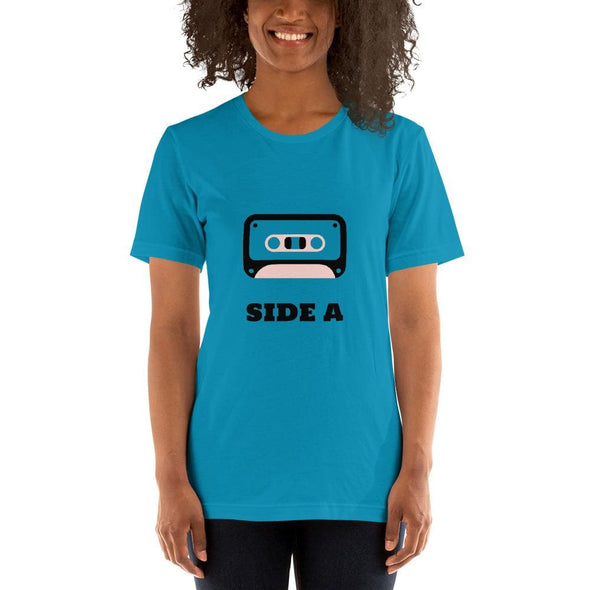 Retro Side A Cassette Tape with Pink Tint T-Shirt - Aqua / S