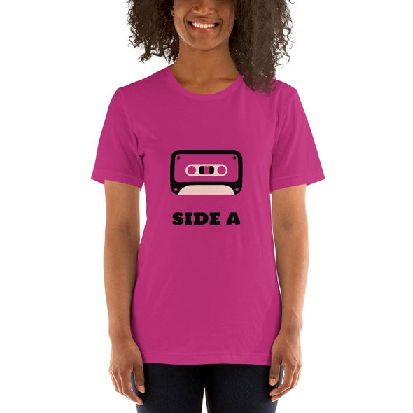 Retro Side A Cassette Tape with Pink Tint T-Shirt - Berry /