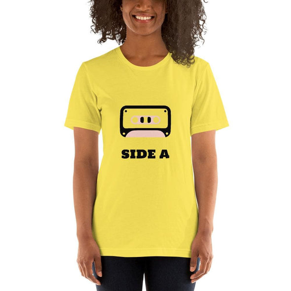 Retro Side A Cassette Tape with Pink Tint T-Shirt - Yellow /