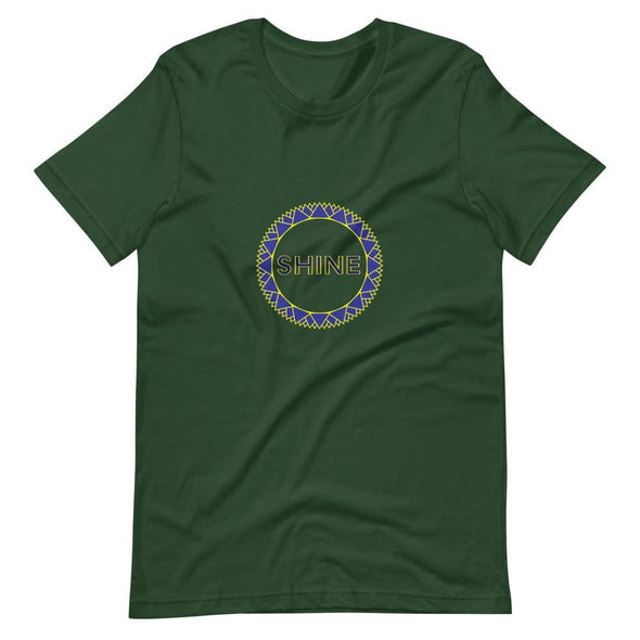 Shine Blue Circle Design on Short-Sleeve T-Shirt - Forest /