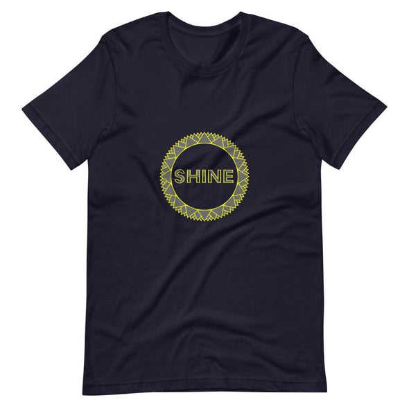 Shine Grey Circle Design on Short-Sleeve T-Shirt - Navy / S