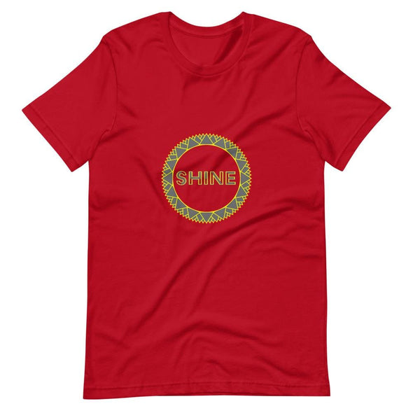 Shine Grey Circle Design on Short-Sleeve T-Shirt - Red / S -