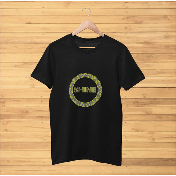 Shine Grey Circle Design on Short-Sleeve T-Shirt - T-shirts