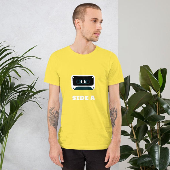 Side A Cassette Tape with Green Tint Men's T-Shirt - Yellow