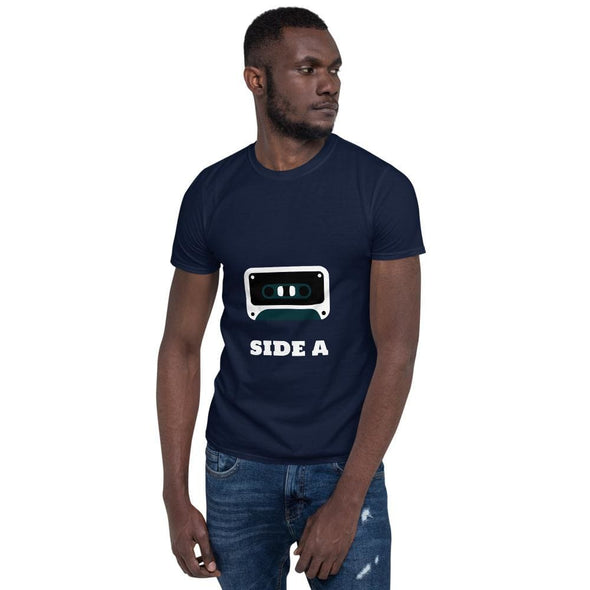 Side A Cassette Tape with Green Tint T-Shirt - Navy / S -