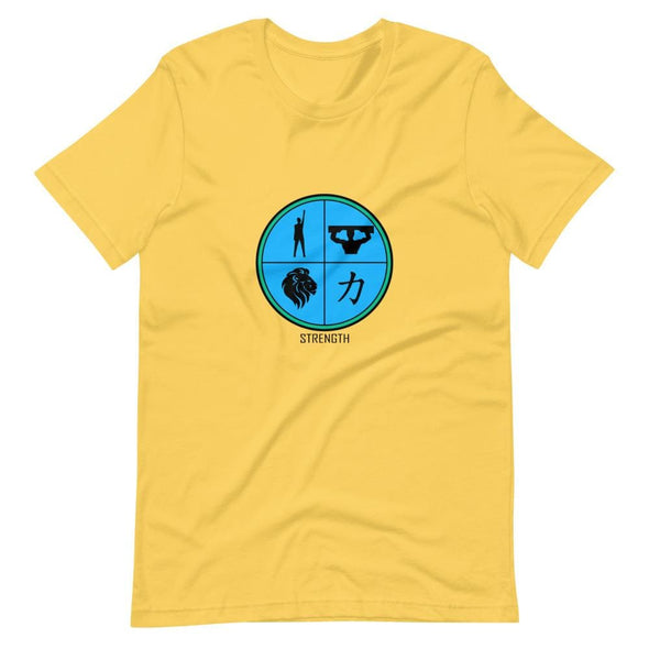 Strength Blue Design on T-Shirt - Yellow / S - T-shirts