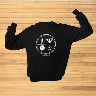 Strength Design on Dark Colored Sweatshirt - Sweatshirt