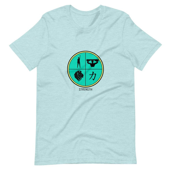 Strength Green Design on T-Shirt - Heather Prism Ice Blue /