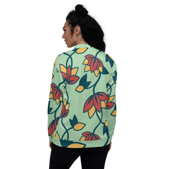 Teal Flower Design on Bomber Jacket - Jacket