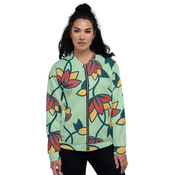 Teal Flower Design on Bomber Jacket - XS - Jacket