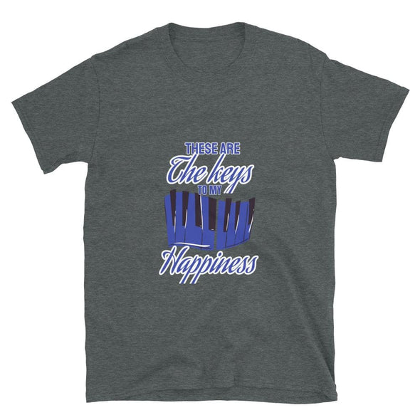 The Keys to my Happiness Piano on T-Shirt - Dark Heather / S