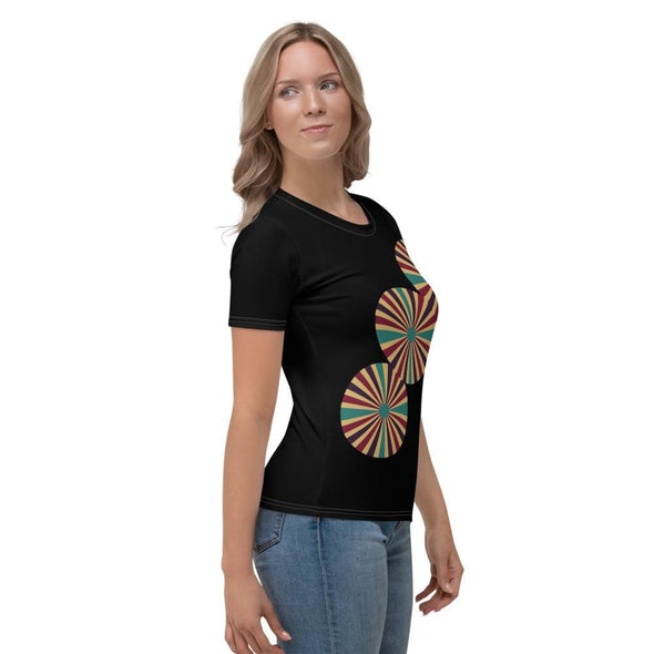Triple Color Splash Circle on Black T-Shirt - T-shirts