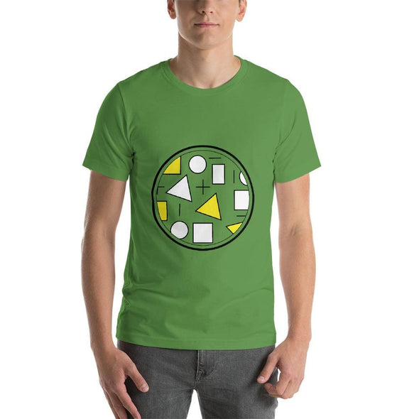 Yellow Circle & Square Design on T-Shirt - Ref 010 - Leaf /