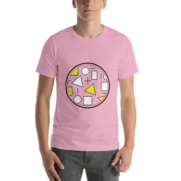 Yellow Circle & Square Design on T-Shirt - Ref 010 - Lilac /
