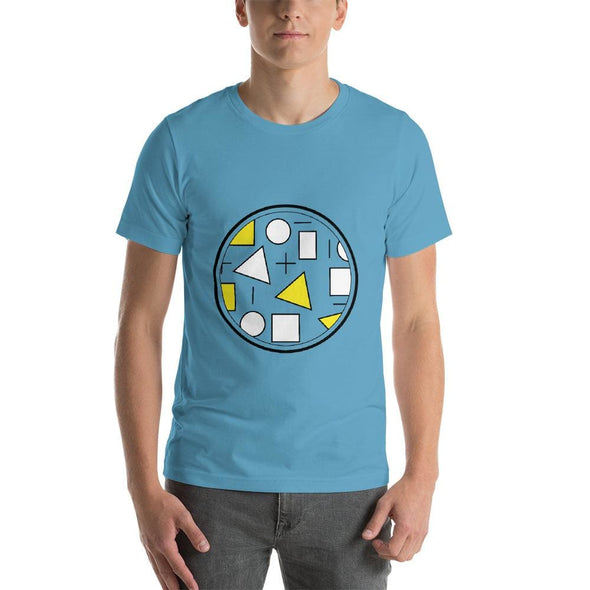 Yellow Circle & Square Design on T-Shirt - Ref 010 - Ocean