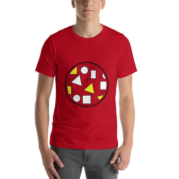 Yellow Circle & Square Design on T-Shirt - Ref 010 - Red / S