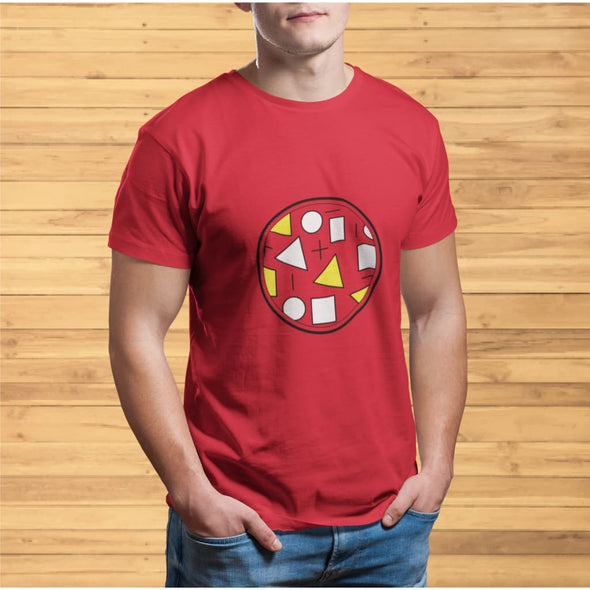 Yellow Circle & Square Design on T-Shirt - Ref 010 -
