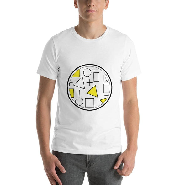 Yellow Circle & Square Design on T-Shirt - Ref 010 - White /