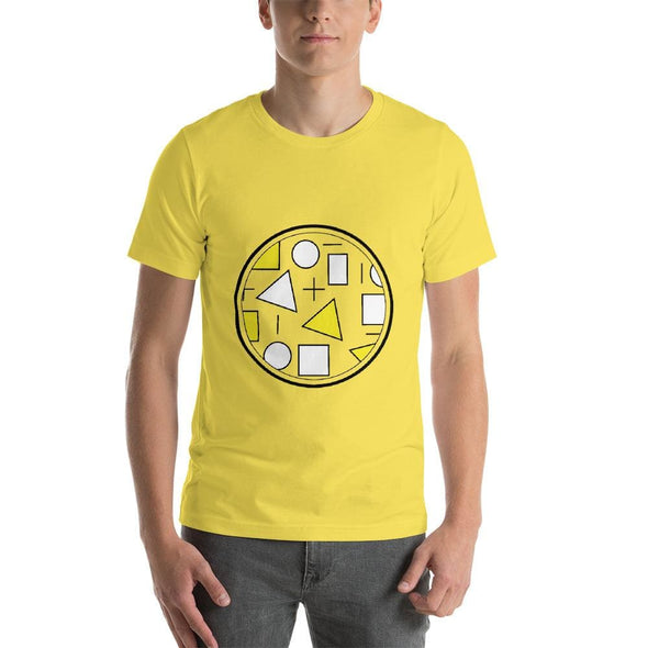 Yellow Circle & Square Design on T-Shirt - Ref 010 - Yellow