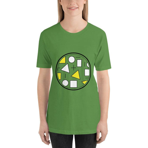Yellow Circle & Square Design on T-Shirt - Ref 011 - Leaf /