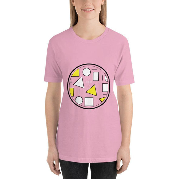 Yellow Circle & Square Design on T-Shirt - Ref 011 - Lilac /