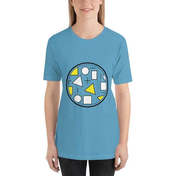 Yellow Circle & Square Design on T-Shirt - Ref 011 - Ocean