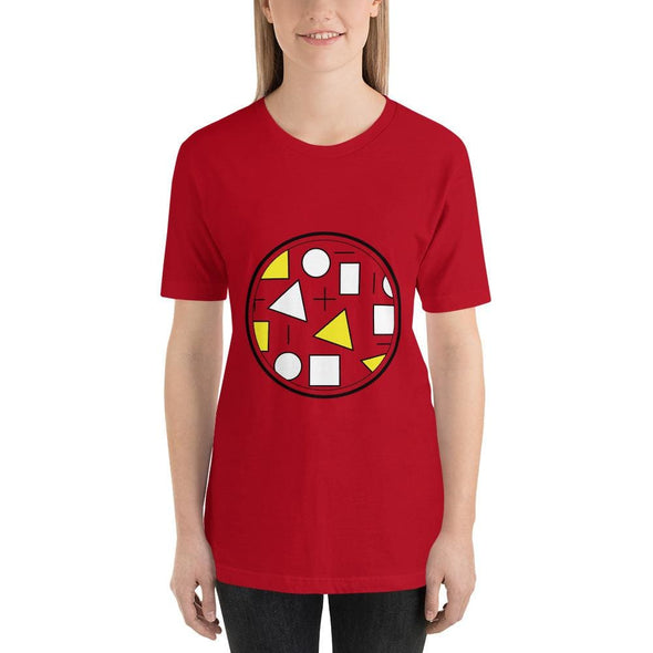 Yellow Circle & Square Design on T-Shirt - Ref 011 - Red / S