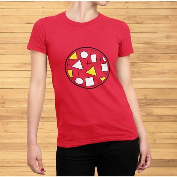 Yellow Circle & Square Design on T-Shirt - Ref 011 -