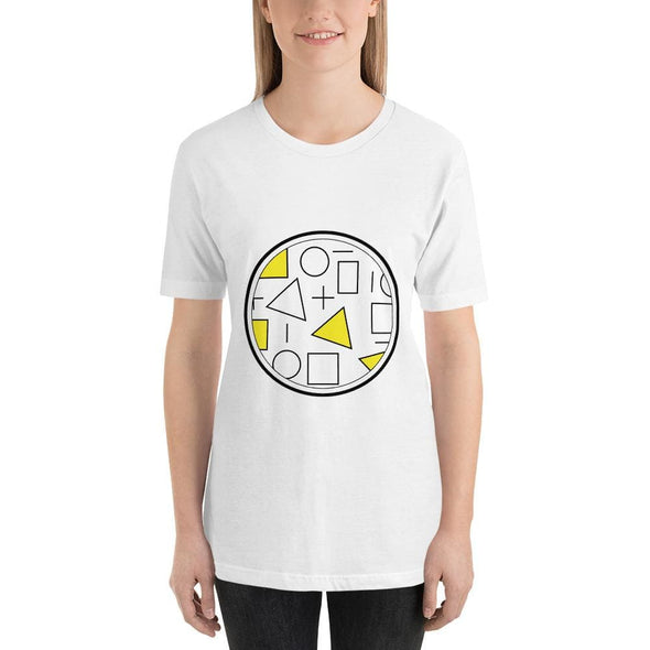 Yellow Circle & Square Design on T-Shirt - Ref 011 - White /
