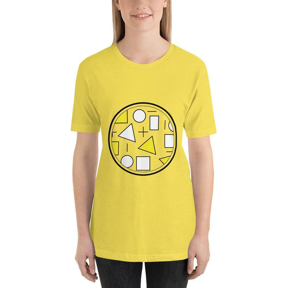 Yellow Circle & Square Design on T-Shirt - Ref 011 - Yellow