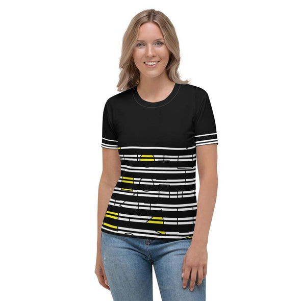 Yellow Circle & Square Design on T-Shirt - Ref 014 - XS -