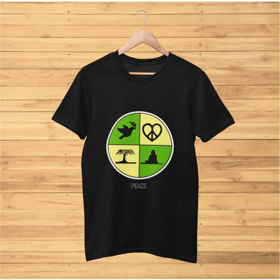 Yellow Peace Art Design on T-Shirt – Ref 017 - T-shirts