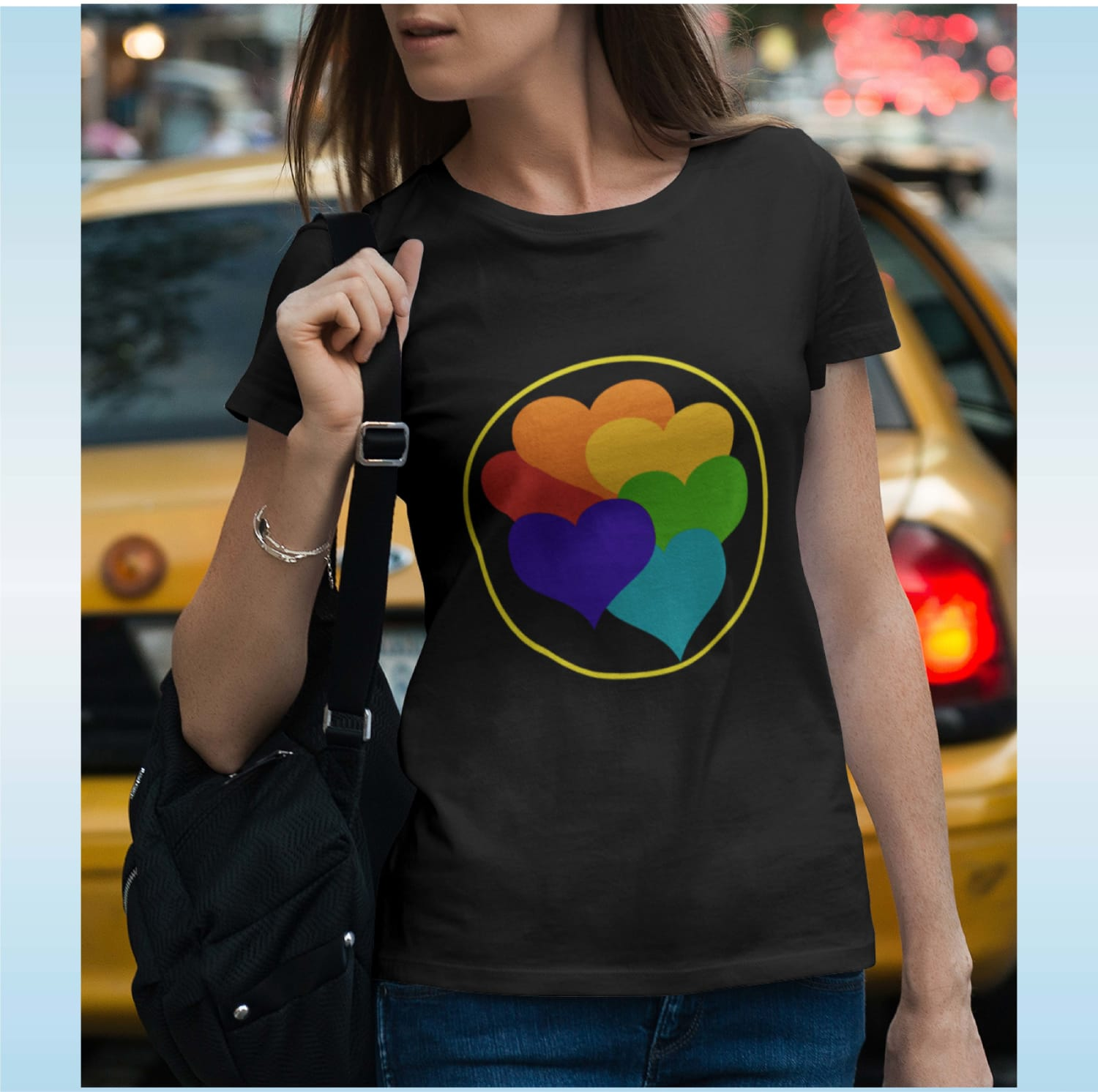 BEAUTIFUL HEARTS DESIGN ON T-SHIRT