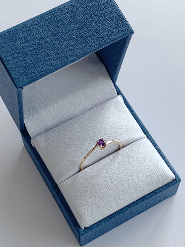 14k Amethyst Birthstone Ring - February