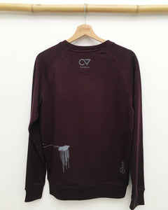 sweater handprinted burgundy fair organic