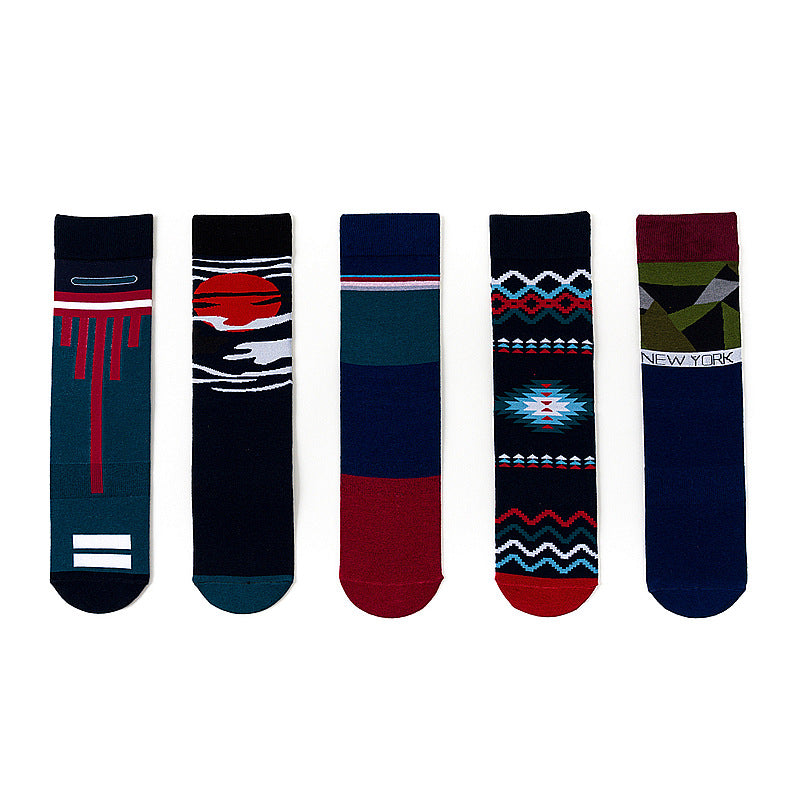 Men Fashion Printed Street Skate Mid Tube Socks