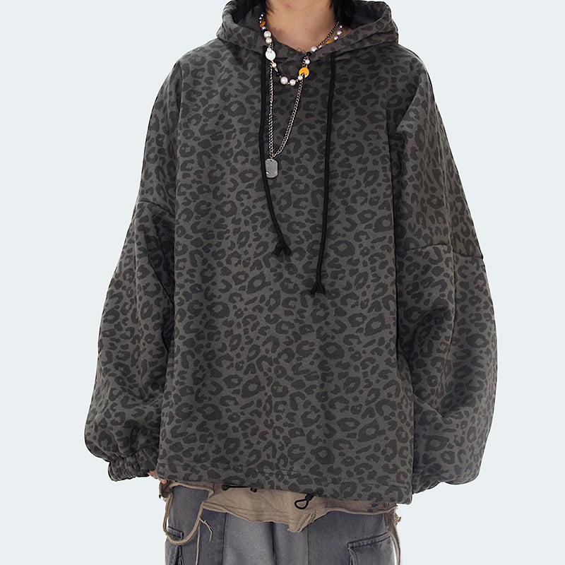 Vintage hooded long-sleeved loose-fitting leopard print sweatshirt