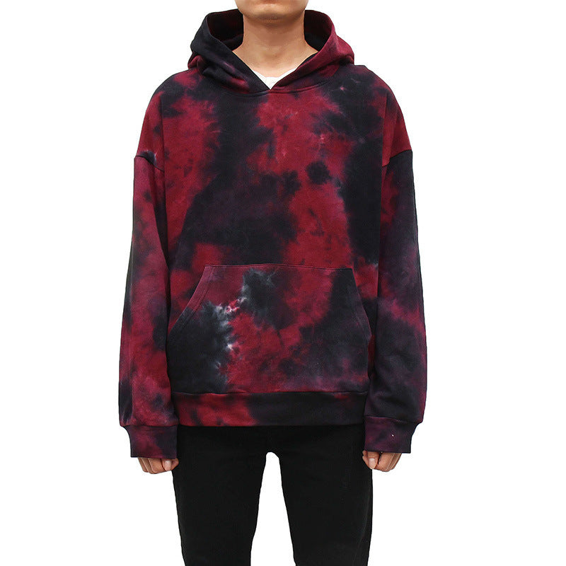 Fashion Casual Contrast Long-sleeved Tie-dyed Hooded