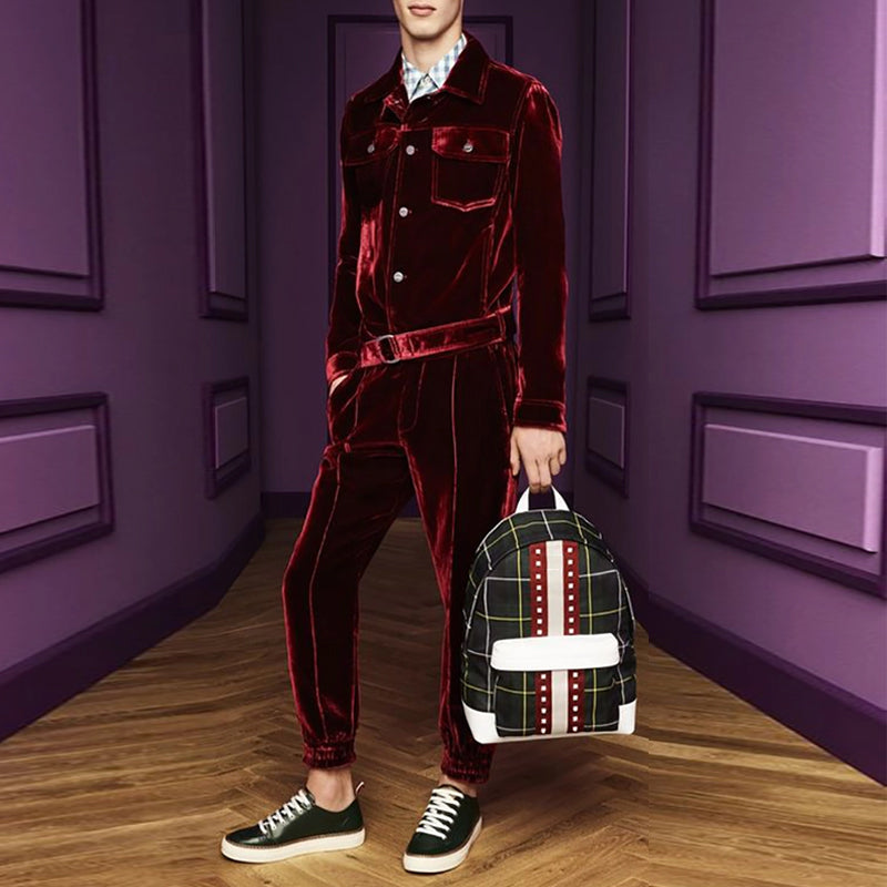 【50% OFF!!Original Price:$99】Men's Fashion Long Sleeve Pocket Velvet Jumpsuit