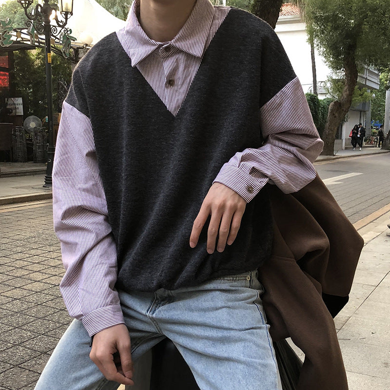 Fashion fake two-sleeve sweater