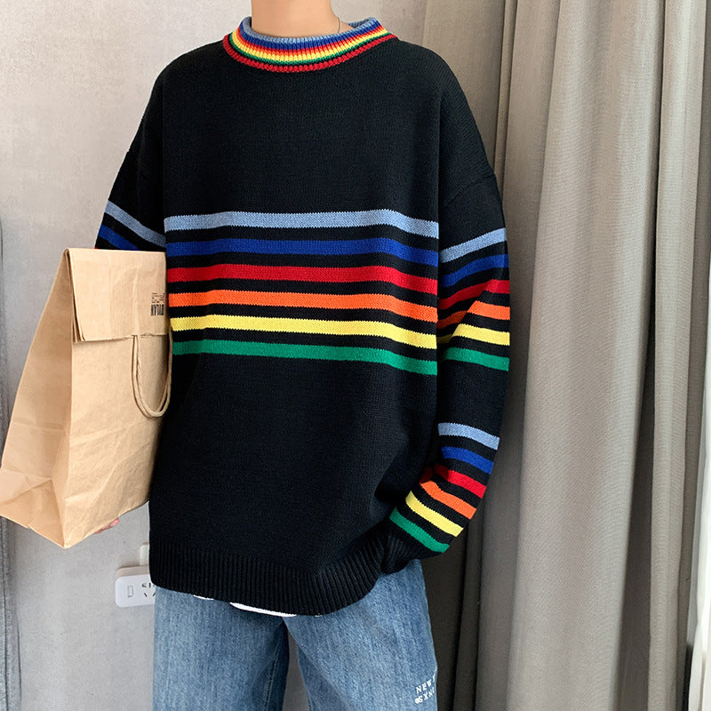 Fashion striped contrast round neck sweater