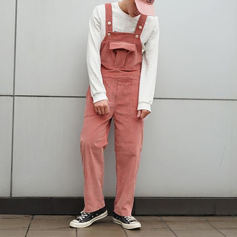 Retro solid color corduroy jumpsuit