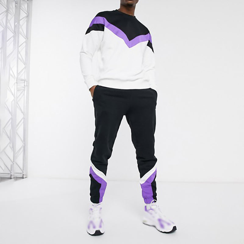 Stylish contrast pullover crew neck sweatshirt suit