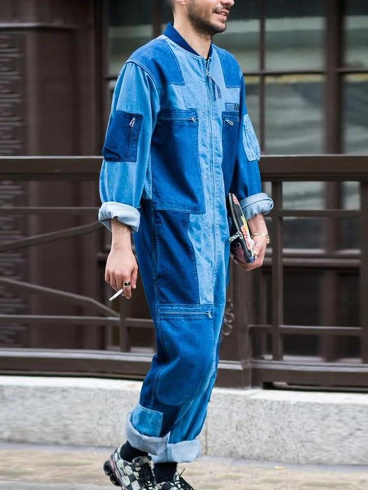 Men's fashion color matching long sleeve overalls jumpsuit