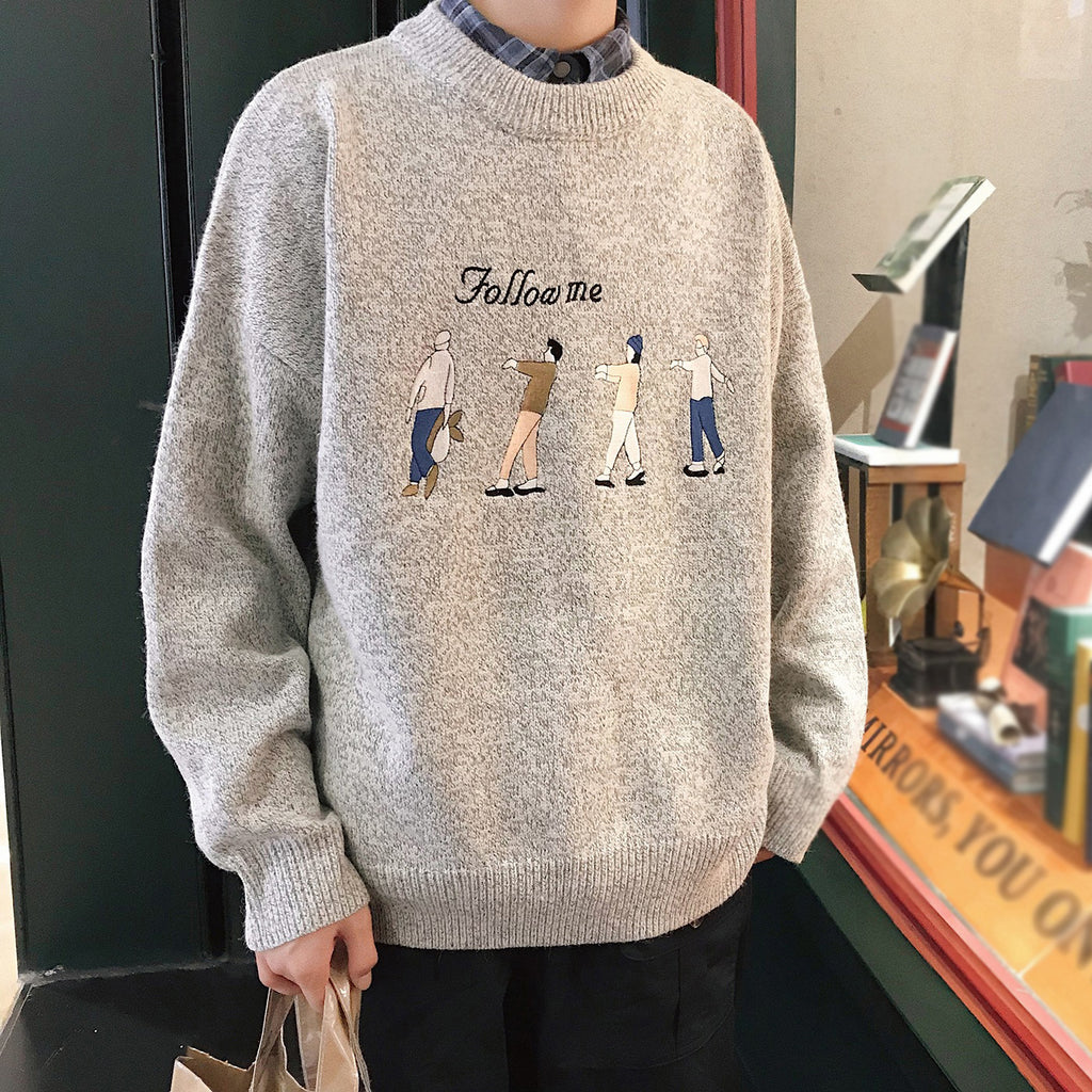 Fashion loose embroidered crew neck sweater