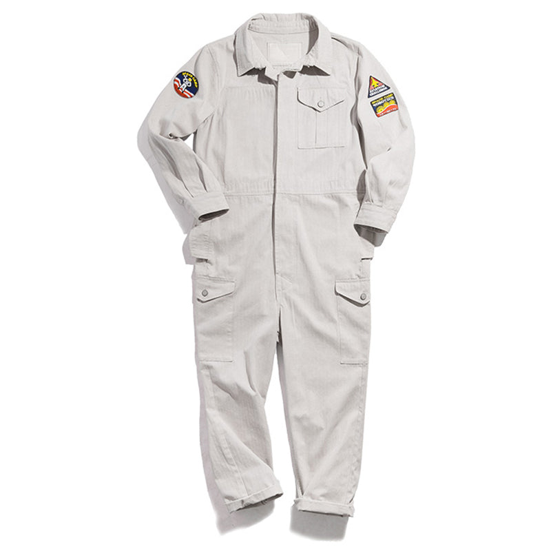 Retro multi-pocket badge jumpsuit