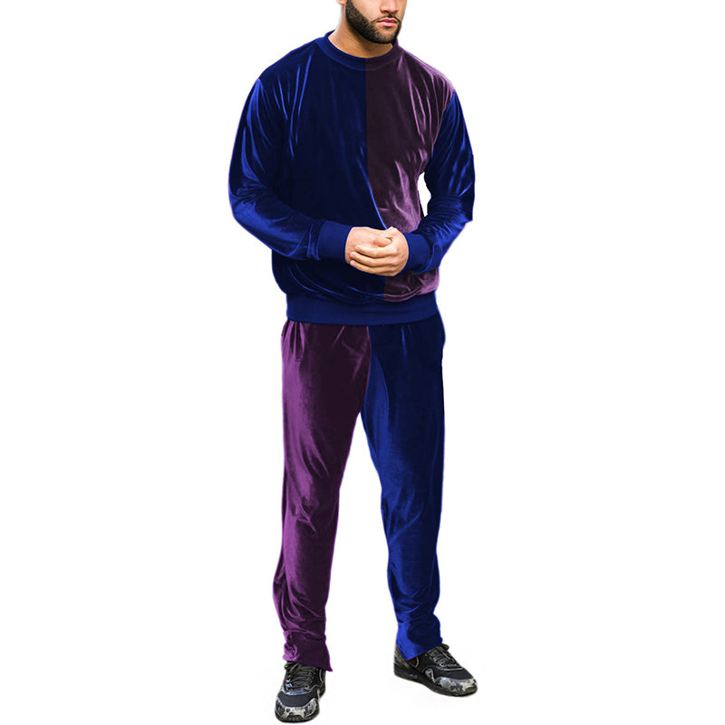 Men's round collar spell color leisure sports suit