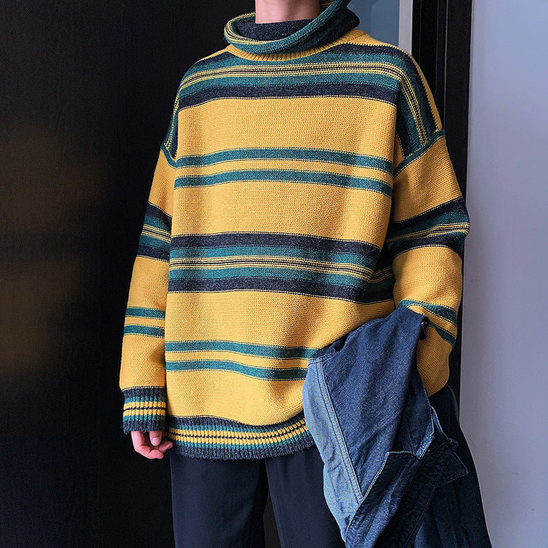 Autumn and winter turtleneck striped contrast color sweater