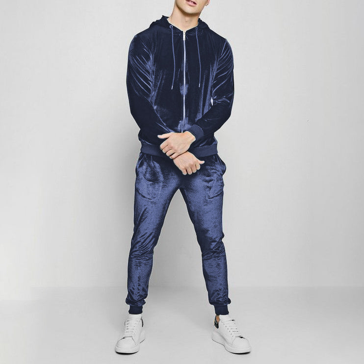 Men's casual colorful velvet sports suit